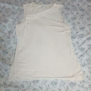 EUC CREAM TANK TOP W/ COLLAR DETAIL SZ S